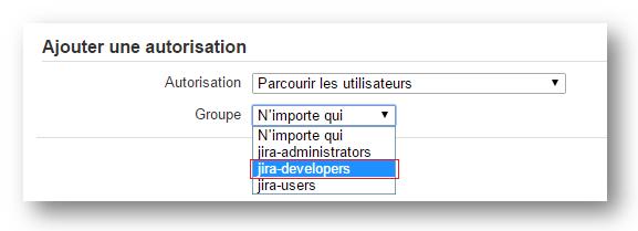 """Le groupe """"jira-developers"""" dans la liste des groupes associés aux autorisations globales"""